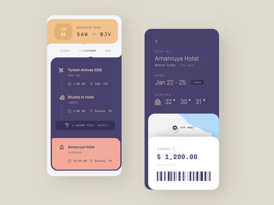 Itinerary ✈️ itinerary travel mobile flat dashboard list iphone app ux ios ui