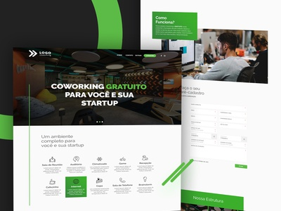 Lading page for coworking gridsystem bootstrap website lading page startups ux ui 12col white design webdesign interfaceweb interface green photoshop