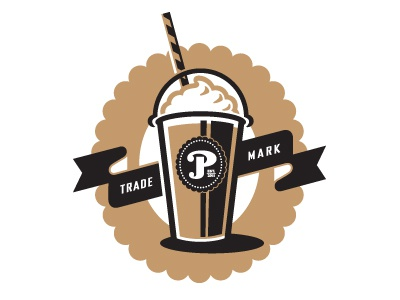 Phil's Frap Logo coffee cup frap straw drink beverage glass ribbon banner