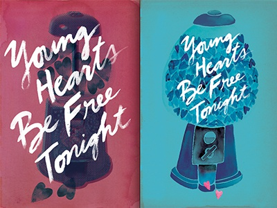 Which poster? watercolor watercolour paint illustration hand-drawn type typography art poster rod stewart young hearts hearts