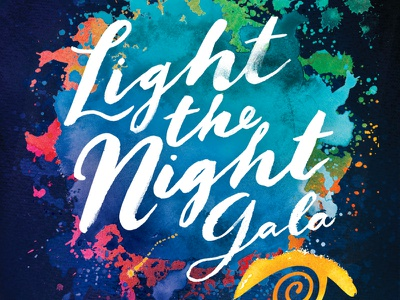 Light the Night branding watercolor color cover orange red blue sky night jacksonville culture gala