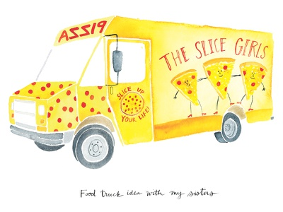 The Slice Girls watercolor color yellow orange red humor pizza food truck slice