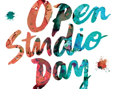 CoRK Open Studio Day splatters studio painting paint colorful color mixed media type typography watercolor