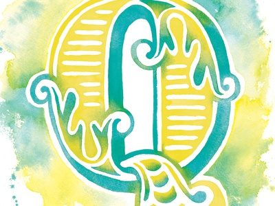 Typefight teal yellow colorful color q watercolor typography type