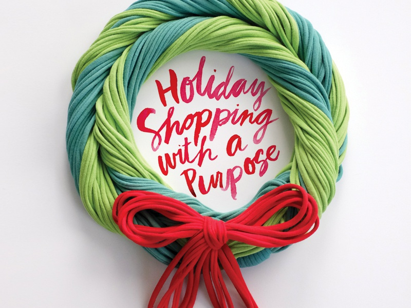 Rethreaded Holiday Creative red green scarves shopping giving christmas holiday typography type wreath watercolor