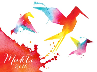 Rethreaded Mukti event splatters red mukti freedom bird painting paint colorful color watercolor
