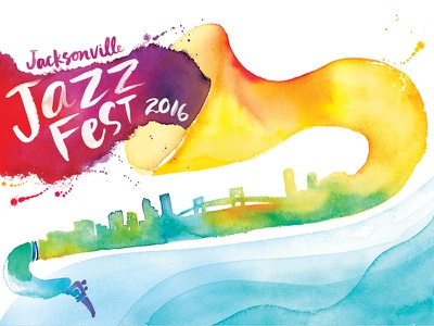 Jacksonville Jazz Fest saxophone jacksonville skyline music jazz river painting paint color type typography watercolor