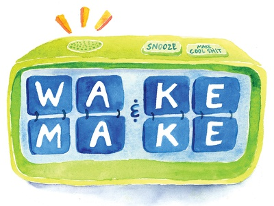 Wake & Make make clock green alarm clock painting paint colorful color type typography watercolour watercolor