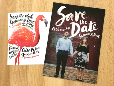 Wedding Save the Date hand-lettered hand-painted lettering florida postcard wedding save the date pink splatters bird flamingo watercolor
