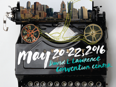 3 Rivers Screenwriters Conference conference screenwriters typewriter skyline pittsburgh collage handlettering watercolor