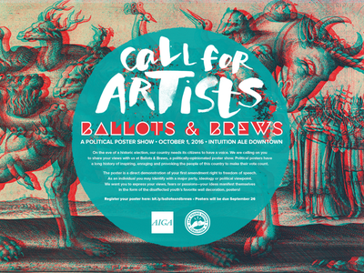 Ballots and Brews Poster aiga typography watercolor political poster design print