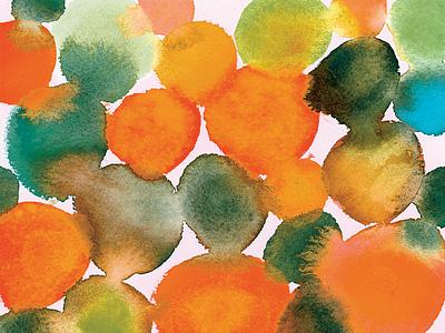 Watercolor Experiment bleed blue green orange watercolor