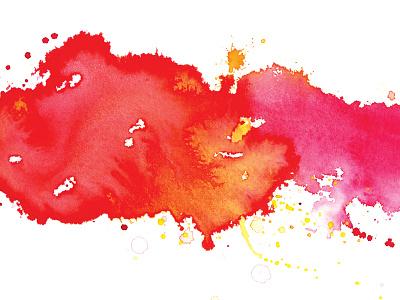 Watercolor splatter bleed texture pink yellow orange red watercolor