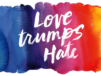 Love Trumps Hate march women equal rights blue purple orange red hate love trump watercolor