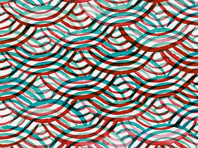 Watercolor Pattern fabric pattern sashiko teal blue red watercolor