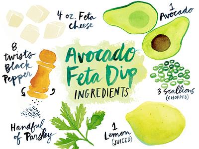 Avocado Feta Dip Ingredients guacamole dip pepper lemon feta avocado cooking ingredients recipe illustration watercolor