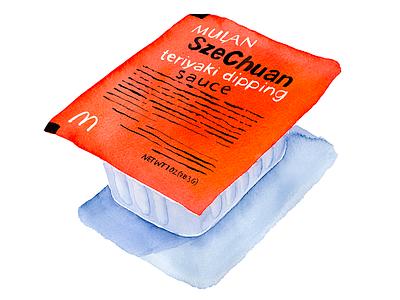 SzeChuan Dipping Sauce nuggets teriyaki mcnuggets szechuan sauce rick and morty mcdonalds red watercolor