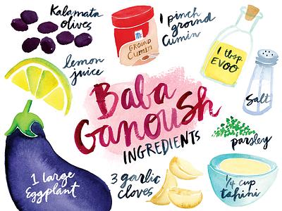 Baba Ganoush Ingredients olives dip salt lemon babaganoush eggplant cooking ingredients recipe illustration watercolor