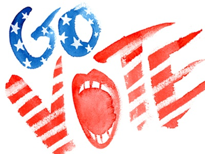 #GoVote govote watercolor blue red typography patriotic hand-drawn type handpainted type illustration stars stripes calligraphy vote