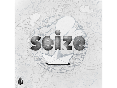 seize bw illustration typography scribble doodle lines cactus clouds paper-boat drawing