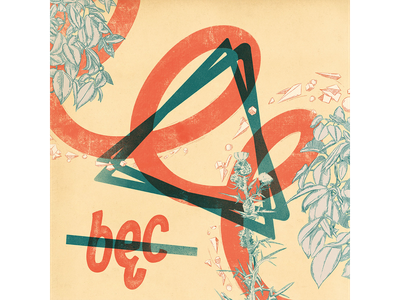 bęc poster illustration drawing twocolors line triangle geometric leaves floral typography diacritics