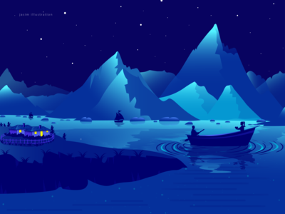 Couple On Boat At Night