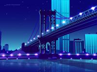City and Bridge Illustration