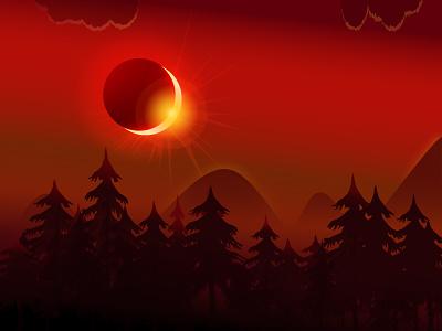 Partial Solar Eclipse 2019 - Illustration artwork vector graphics 2019 solar eclipse vector illustration