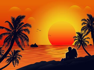 Beach Sunset - Illustration