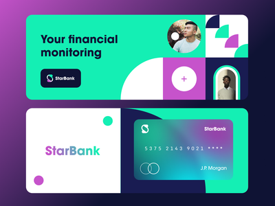 StarBank Branding Exploration brand design fintech identity logotype logo bank card online banking banking brand identity credit card financial service gradient pattern branding color startup business halo lab halo colorful