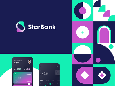 StarBank Branding Final Touch identity logotype logo bank card online banking banking brand identity credit card financial service gradient pattern branding color startup business halo lab halo colorful