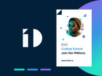 IDIO Coding School - 101010 identity logotype logo education coding school coding educational branding service brand book brand identity pattern branding color startup business halo lab halo colorful