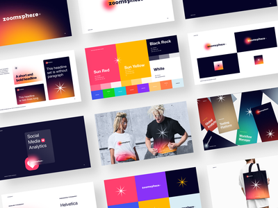 ZoomSphere Brandbook identity logo logotype brand identity social media networking guidelines gradient pattern branding color startup business halo lab halo colorful