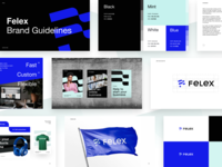 Felex Brand Guidelines brandbook flexible flag felex marketing identity logotype logo constructor shopping ecommerce brand identity gradient pattern branding color startup business halo lab colorful