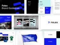 Felex Brand Guidelines brandbook flexible flag felex marketing identity logotype logo constructor shopping ecommerce brand identity gradient pattern branding color startup business halo lab colorful