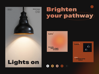Lens - Lighting Branding marketing light identity logo logotype brand identity illumination promo lightning lamp pattern branding color startup business halo lab halo colorful