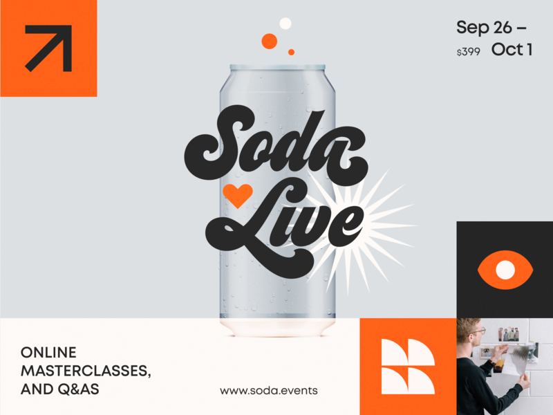 Soda Live Event study training master class workshop learning event education packaging logotype logo brand sign branding identity brand identity