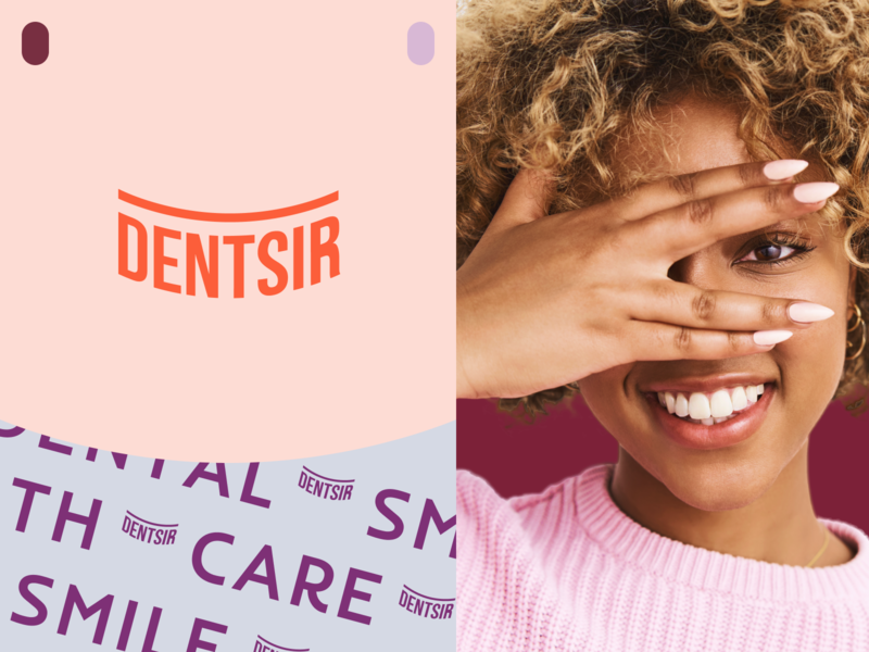 DENTSIR CLINIC logo design colors palette brand smiley simple halo care letters lettering print logotype healthcare health dentist smile startup identity brand identity logo branding