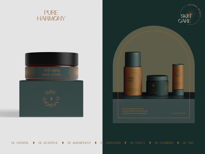 Pure Harmony Branding moon harmony care energy gentle self care beauty product beauty packaging logotype logo brand sign branding identity brand identity