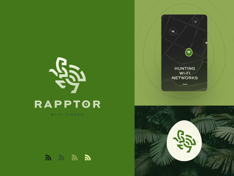 Raptor Logo halo lab dinosaur finder wifi packaging logotype logo brand sign branding identity brand identity