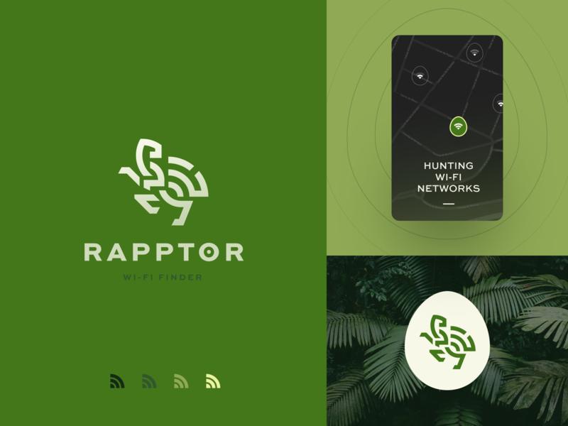 Raptor Logo halo lab dinosaur finder wifi packaging logotype logo brand sign branding identity brand identity