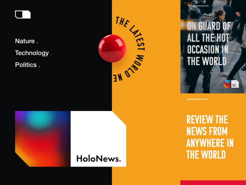 Holonews Branding cards newspaper informational news poortal news gradient packaging logotype logo brand sign branding identity brand identity