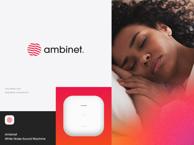 Ambinet Sleep Machine Logo sounds meditation travel work dream sound machine sound packaging brand sign relax sleep identity logotype brand identity logo branding