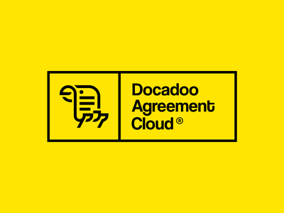 Docadoo eSignature logo design halo lab menu cloud icon yellow creative bird print document agreement esignature docadoo logotype identity brand identity logo branding