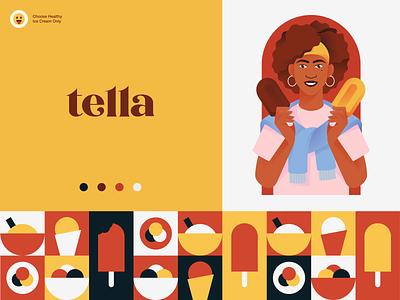 Tella Ice Cream Branding marketing meal tasty delicious yummy food healthy girl ice-cream packaging logotype logo brand sign branding identity brand identity halo lab halo colorful
