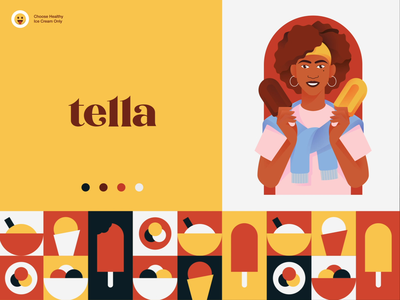 Tella Ice Cream Branding marketing meal tasty delicious yummy food healthy girl ice-cream packaging logotype logo brand sign branding identity brand identity halo lab halo colorful