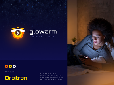 Glowarm Night Light logo concept illumination atmosphere light firefly packaging logotype logo brand sign branding identity brand identity halo lab halo colorful