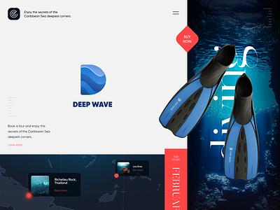 Deep Wave Diving print printing logo design logodesign letter booking ocean halo halo lab identity logotype brand identity logo branding
