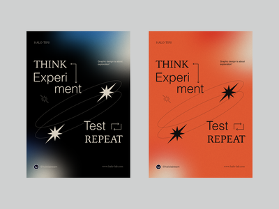 Think. Experiment. Test. Repeat printing design tips motivation space identity logotype logo brand identity halo lab fonts typogaphy branding poster printing