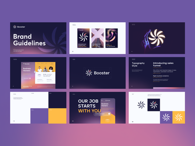 Booster - SaaS Brand Guidelines logo design brand sign halo brand design pitch deck social media presentation styleguide brand guidelines brand book booster packaging dribble dribbble halo lab identity logotype logo brand identity branding